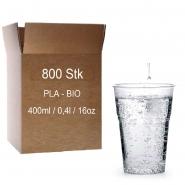 Trinkbecher PLA 0,4 l Kaltgetränkebecher Bio, glasklar Kompostierbar 16 x 50 Becher 40 cl
