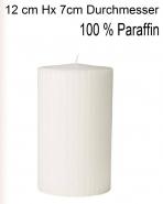 Paraffin Blockkerze Weiss, geriffelt 7 x 12cm, 60 h