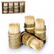 Zahnstocher Holz Set 4 x 150 Stk. in geflochtener Holzspenderbox